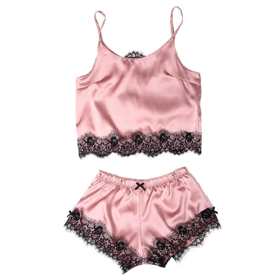 Womens Satin Pajama Set Spaghetti Strap Lace Applique Cute Cami Top and  Shorts Silk like Pajama Set Comfy Sleepwear d4022dfac