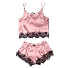 Womens Satin Pajama Set Spaghetti Strap Lace Applique Cute Cami Top and Shorts Silk like Pajama