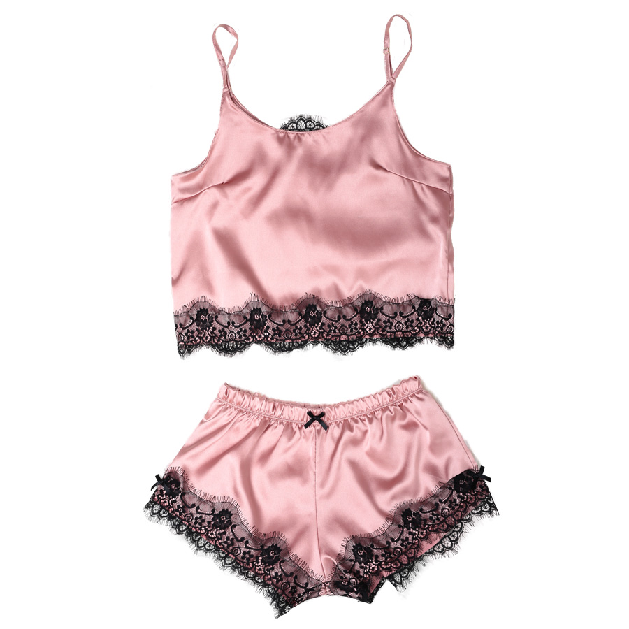 Womens Satin   Pajama     Set   Spaghetti Strap Lace Applique Cute Cami Top and Shorts Silk like   Pajama     Set   Comfy Sleepwear
