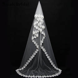 3 м один уровня Новый свадебная фата собор Длина ручной работы фата Бесплатный гребень Свадебные аксессуары въелось de Novia в наличии 11046iv
