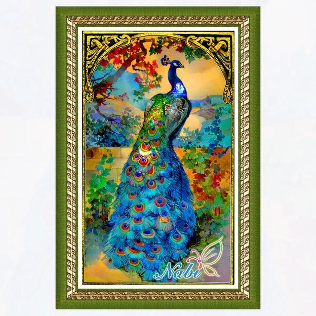 US $5 93 16% OFF|animals peacock drawing 3d diy rhinestone 565AA Square  diamond mosaic painting Diamond embroidery cross stitch-in Diamond Painting