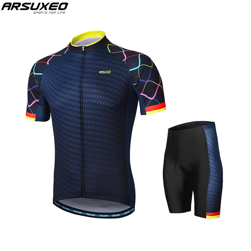 ARSUXEO Men's Cycling Sets Bike Jersey Short Sleeves Mountain Bike MTB Sets with Shirt padded Shorts Maillot Ropa Ciclismo triathlon fitness women sports wear shorts kit sets cycling jersey mountain bike clothing for spring jersey padded short page 9