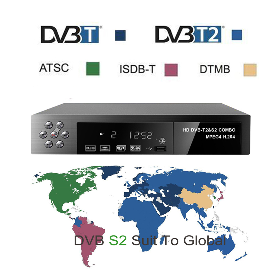 Digital Satellite Receiver or finder Combo dvb t2+S2 HD 1080P dvb-t2 dvb-s2 tv Box H.264 / MPEG-2/4 DVB T2 TV Tuner Receivable