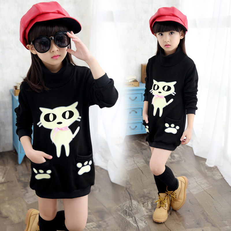 Anlencool 2018 new girls in winter all-match girls sleeved bottoming shirt sweater coat kitten child children baby girls clothes girls cotton set 2018 spring new child embroidery lapel sweater bottoming shirt skirt sweater three piece