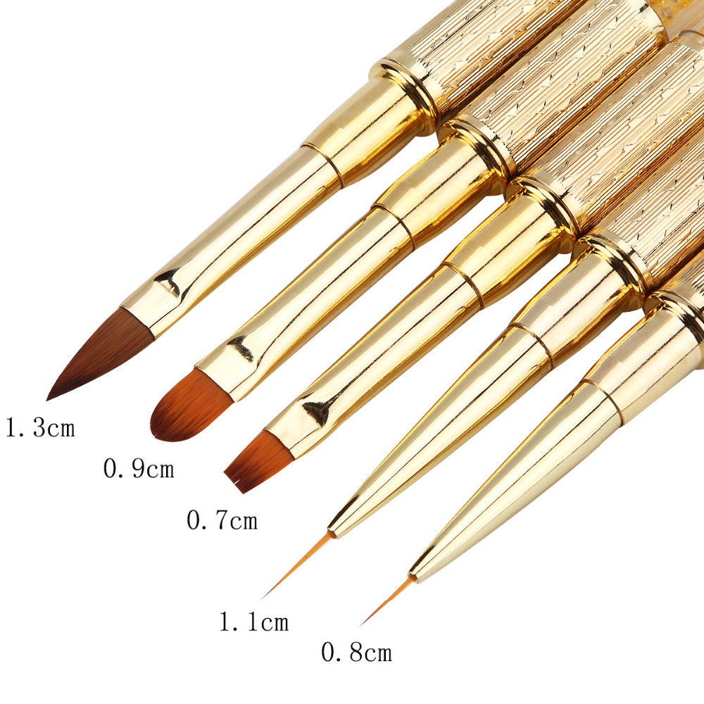 Monja Nail Art Brush Made Of Acrylic Rhinestone Handle Material For Nail Liner Brush Tool 2