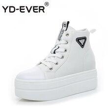 ffaac56e2d YD-EVER 6.5 cm de lona das mulheres botas de salto alto plataforma sapatos  de cunha altura crescente lace up casual shoes lace u.