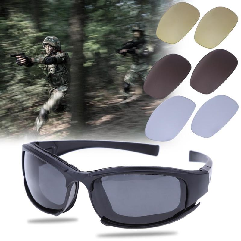 Polarized Tactical daisy C5 Glasses Military Bullet-proof Army Sunglasses With 4 Lens Men Shooting Eyewear Gafas Safety Goggle 10pcs safety shooting eva bullet round head