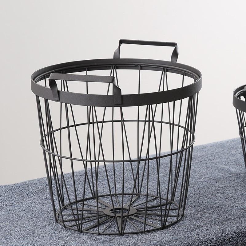 Nordic Black Metal Storage Basket Bathroom Dirty Clothes Storage Basket Handmade Handles Miscellaneous Articles Decor Basket