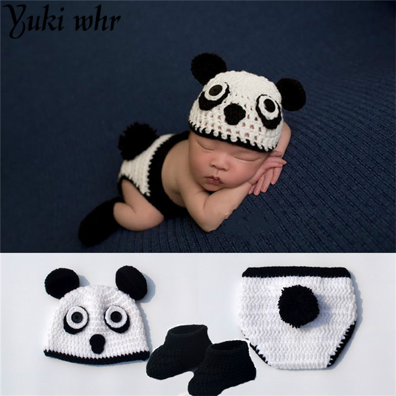 2018 Hot Sale Kung Fu Panda Newborn Baby Photography Accessories Knit HAT The Panda Shoes Diaper Crochet Set NEWORN Costumes