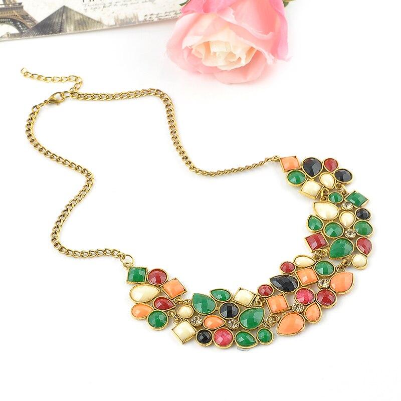 5e7f28f2aff1 Estilo Europeo elegante ZIRCON colorido chocker Collares y colgantes enlace  Accesorios gargantilla collar de joyería de las mujeres