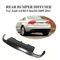 Rear Diffuser Lip Bumper Spoiler for Audi A4 B8 S4 & Sline Sedan 4Door 2009 2012 dual exhaust two outlet FRP Black|lip spoiler|spoiler audi|rear bumper -