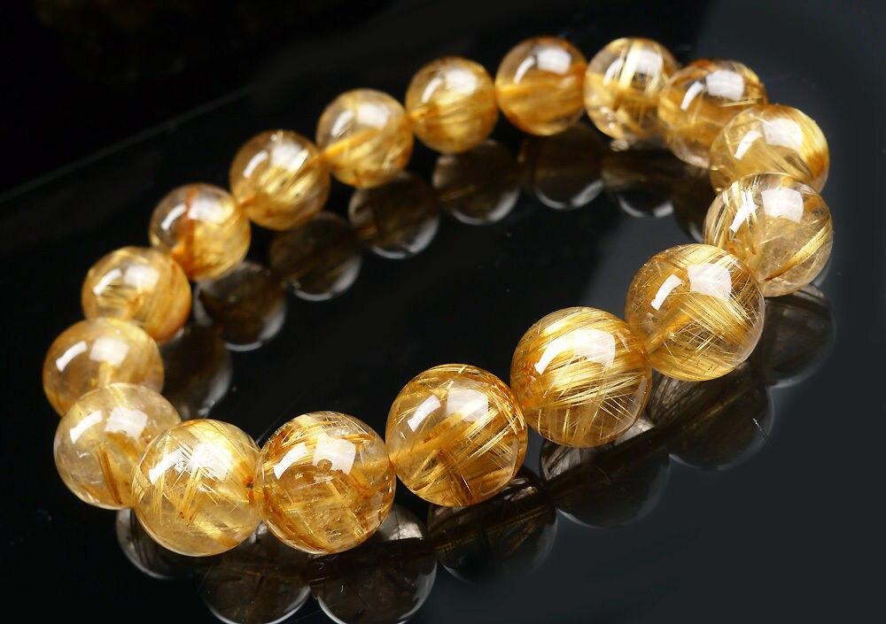 Huij 001671 Top qualité naturel or Quartz rutile perles de cristal Bracelet AAAA