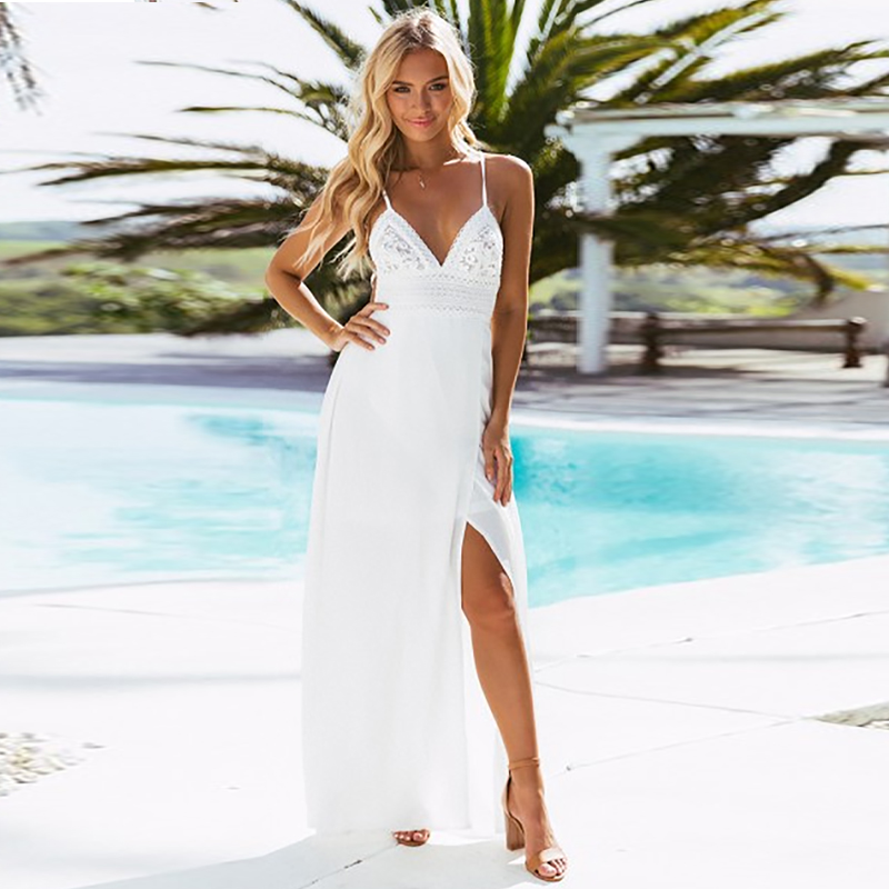 2d36958e40c29 DeRuiLaDy Sexy White Print Lace Maxi Dress Strap Deep V Neck Split Dresses  Women 2018 Summer Backless Chiffon Long Dress vestido