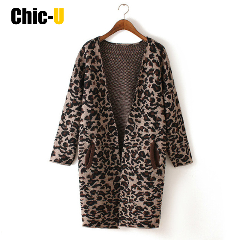 Frauen strickjacke leopard patent pullover weibliche lange