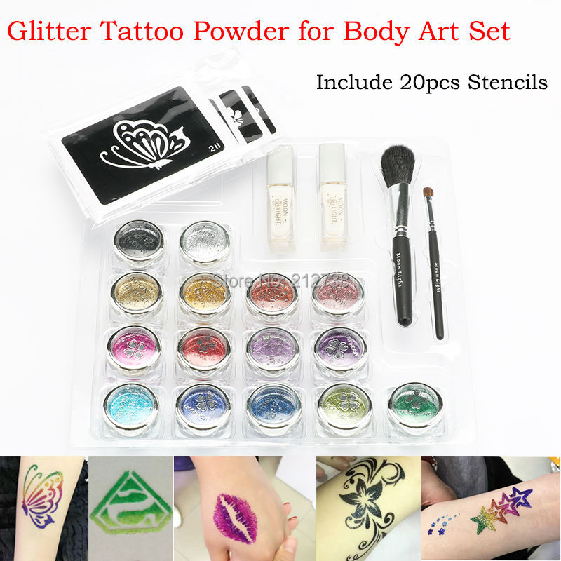 15 Colors Shimmer Glitter Temporary Tattoo Set 20 Hollow Pattern Stencils 2 Glue & 2 Brushes Set For Tattoo Body Paint Design