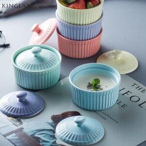 Nowy styl skandynawski ceramiczne pokryte miski do pieczenia, suflet ciasto miska z pokrywką, urządzenia do pieczenia naczynia spodki hurtownia