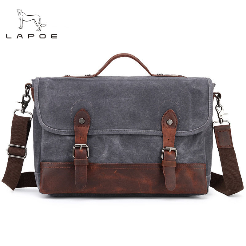 Vintage Men Briefcase Canvas Leather Laptop Business Shoulder Crossbody Bag Casual Durable Leather Messenger Bags Work Tote canvas leather crossbody bag men briefcase military army vintage messenger bags shoulder bag casual travel bags
