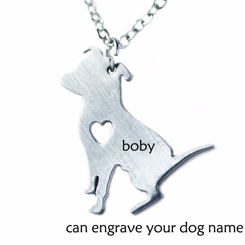 Bulldog dog Custom necklace Personalized Necklace, Animal Cartoon Jewelry Love Dogs, Can Burn Name / Date of Birth Dog Collar