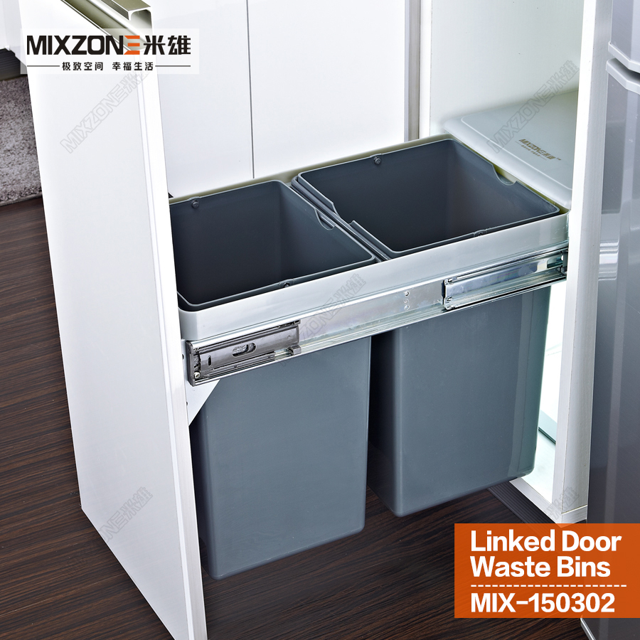 Kitchen Cabinet Waste Bins: Twin Pull Out Trash Bin Kitchen Cabinet Double Dual Slide
