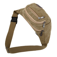 Hot Selling Men Wasit Bag Zipper Canvas Phone Pouch Casual Sling Bags for Outdoor Running Climbing -B5