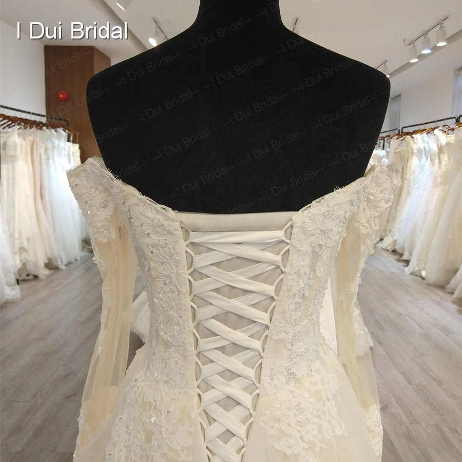 Off Shoulder Long Sleeve Wedding Dress A line Lace Appliqued Beaded Bridal Gown Factory High Quality Custom Made