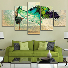 5 Pieces Green Ballerina Girl Butterfly Dancing Paintings HD Prints Poster Modular Home Decor Framework Canvas Wall Art Pictures dazzle butterfly prints diamond paintings