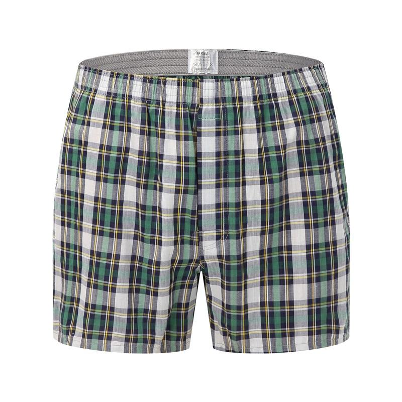 2018 High Quality Men's Plaid Underwear Boxer Fashion Shorts Home Pants Men  Cotton 100% Sleep Short Pants Pajamas Plus Size