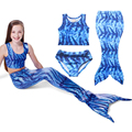 New 2017 Summer Girls Mermaid Bathing Suit 3-8yrs Children Clothing Size 110 -140 Fashion Girls Clothes Bikini Sets 3pcs/lot