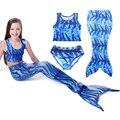 New 2017 Summer Girls Mermaid Bathing Suit 3-8yrs Children Clothing Size 110 -140 Fashion Girls Clothes Bikini Sets 3pcs/lot