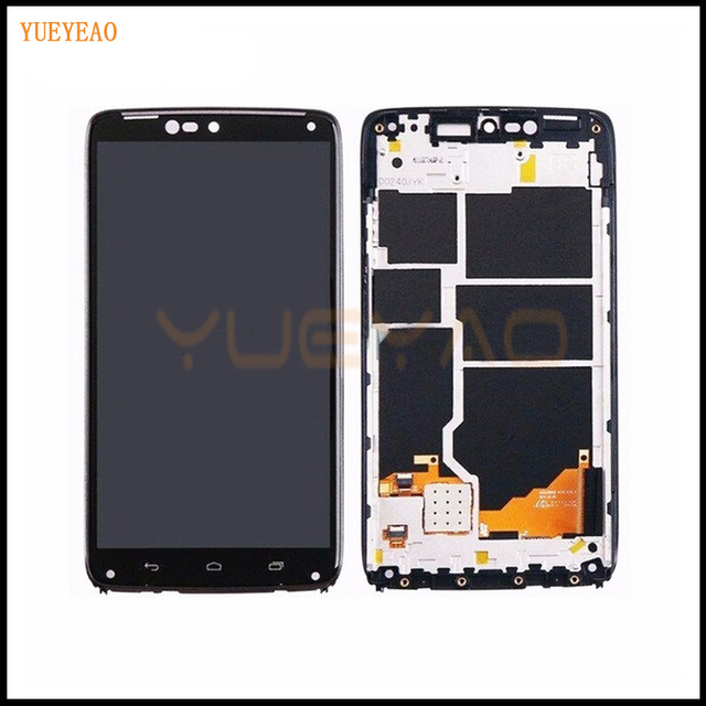YUEYAO LCD Display Touch Screen For Moto Droid Turbo XT1254 XT1225 LCD Display Touch Screen with Digitizer Bezel Frame Parts
