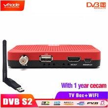 DVB S2 mini tv box di sostegno Biss chiave Youtube IPTV Internet IKS FULL HD Digitale Satellitare set top box + USB wifi dongle & Cccam