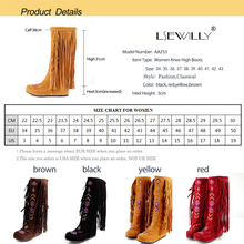 Lsewilly Women Fashion Flock Tassel Knee long boots Lady's Causal Sexy Long High-heeled Boots High quality Red Black Brown AA253