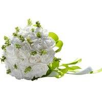 Handmade Pastorale Artificiali Fiori Finti Bouquet di Simulazione Roses Perle Nuziale della Holding Toss Bouquet per la Cerimonia Nuziale Favorisce (Bianco)