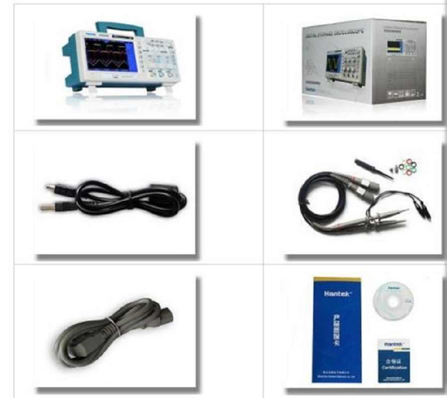 Hantek DSO5202P Oscilloscope de stockage numérique USB 200 MHz bande passante 2 canaux 1GSa/s 7 pouces TFT LCD PC longueur d'enregistrement 40K