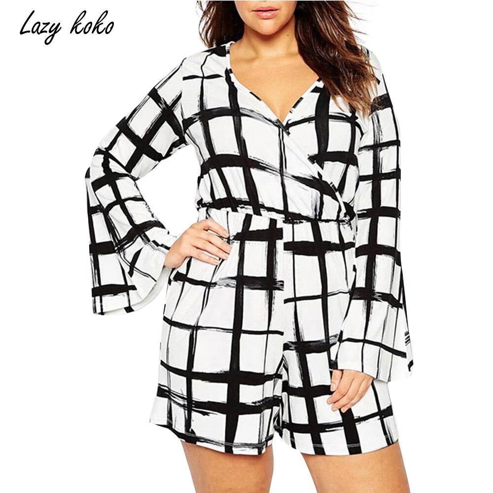 Lazy KoKo 2017 Women Plus Size Black White Plaid Bodysuit Sexy Deep V Big Large Size