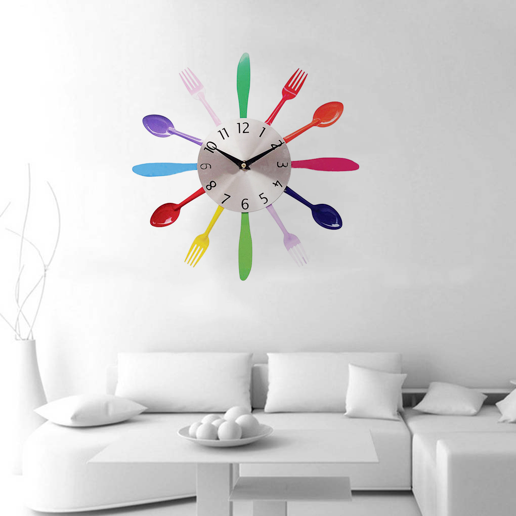 consiglia multi color cucchiaio forchetta orologio da parete cucina posate orologio della decorazione della casa