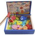 24 CM * 20 CM * 5.8 CM criativo crianças magnéticos Brinquedos de pesca de madeira casa de jogo de simulação honestamente peixes meninos e meninas Brinquedos de madeira