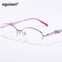 Width-139 Super light pure titanium Diamond hollow myopia eyeglasses frame beautiful women famle oculos de grau spectacle