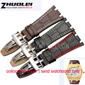 28mm Watch Accessrioes Crocodile Grain Black Genuine Leather Watchbands Straps Watch Belt Silver Deployment Watch Buckle for ap