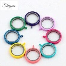 10pcs/ lot Free shipping 30mm Round Colorful Floating Locket Glass Living memory locket Pendants Women Jewelry