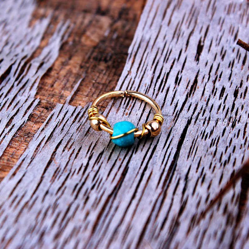 Retro Round Beads Nose Ring Earrings Piercing Jewelry Septum Tragus Piercing Fake Industrial Piercing Oreja Body Jewellry Bijoux
