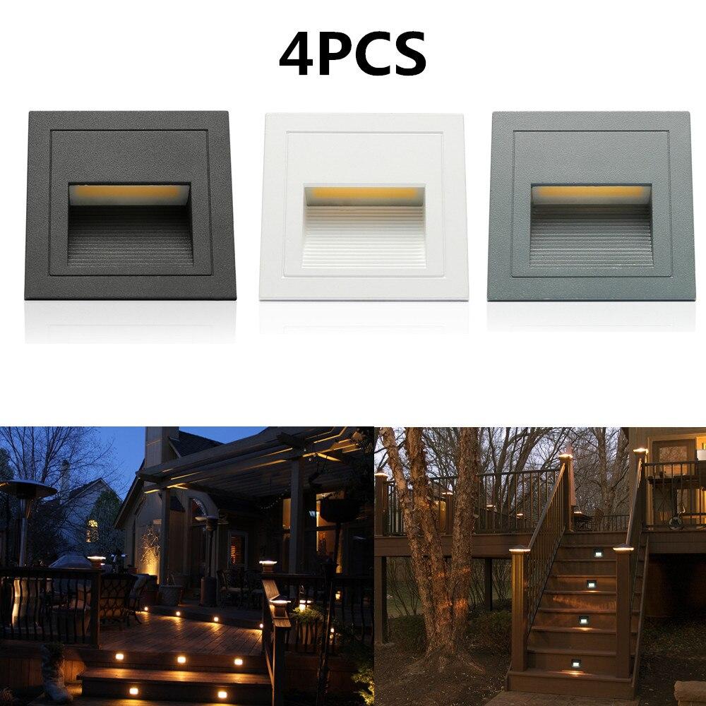 4 pièces 3 W extérieur mur plinthe escalier étape lumière couloir lampe d'angle en aluminium encastré repose-pieds + boîte intégrée blanc chaud blanc froid