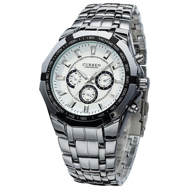 Original curren 8084 marca de luxo relógios em aço inoxidável prata banda casual oito cantos da face da moda quartzo relógios de pulso homens