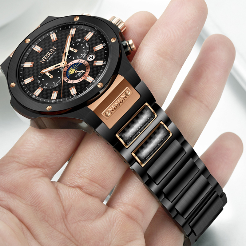 NESUN Men Fashion Business Automatic Mechanical Wristwatches Waterproof Stainless Steel Luxury Brand Watches Relogio Masculino