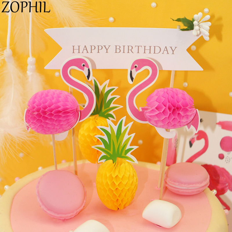 ZOPHIL 20pcs Flamingo Pineapple Cake Topper Summer Hawaii Party Decoration Bridal Shower Weeding Supplies Candy Bar Accessories