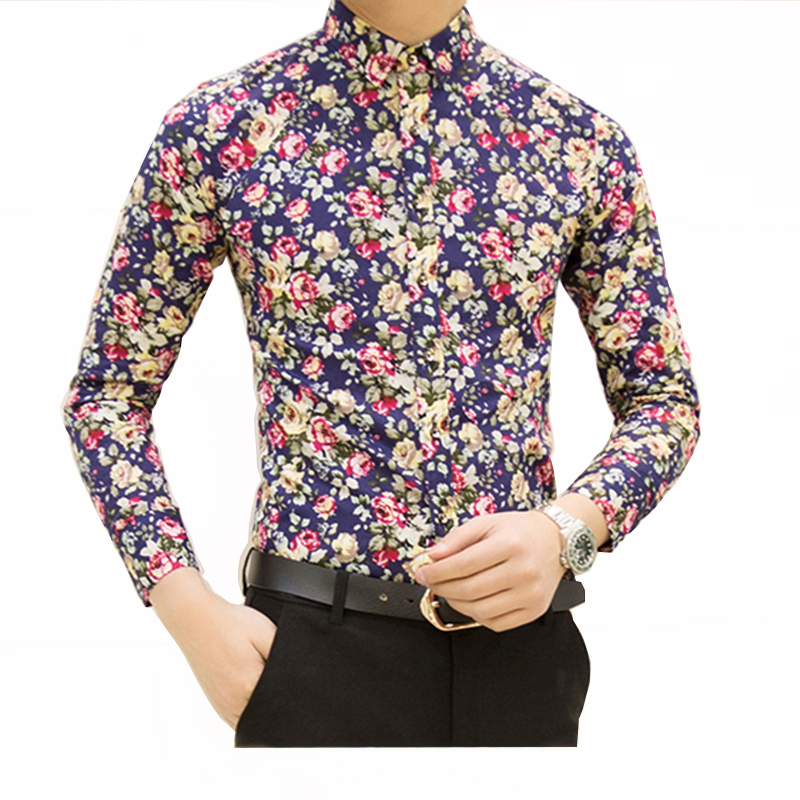 Hcxy 2017 New Fashion Spring Mens Flower Shirts Casual