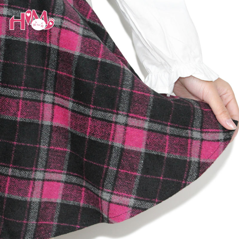 Womens Winter Woolen Skirt Party High Waist College Style Lattice Tutu skirt With Lining 5 Colors Pleated Plaid Skirt For Lady (8)