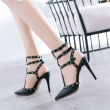 Summer fashion womens sandals real leather fabric comfortable lining rivet decoration T-strap thin high heel sexy
