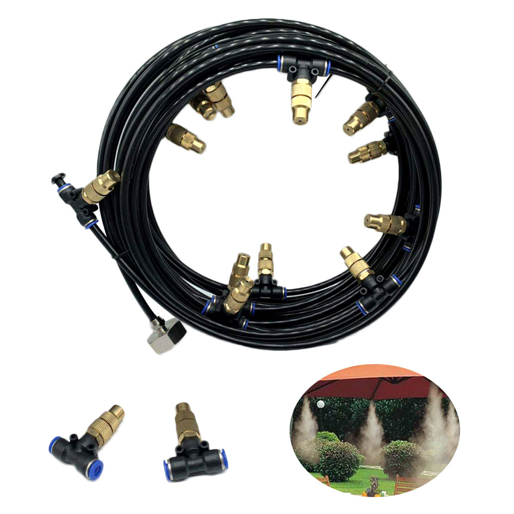 Outdoor Garden Misting Cooling System Fitting 4//7mm Hose 10pcs Nozzles Kit Tools