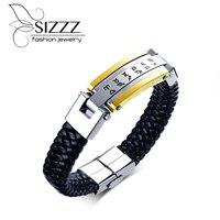 SIZZZ Stainless Steel Twelve Constellations PU Leather Bracelet European And American Style Black Men S Bracelet